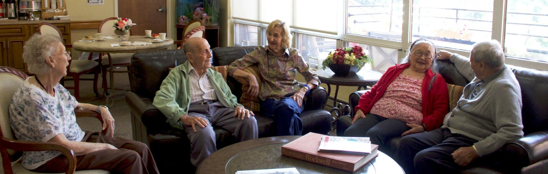 Residents socializing in the lounge