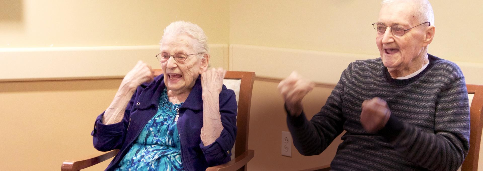 Two elderly people enjoying the moment
